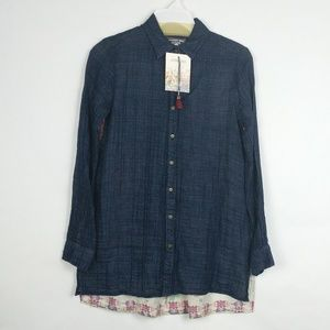 Johnny Was Tribeca Scarf Floral Button Shirt Top